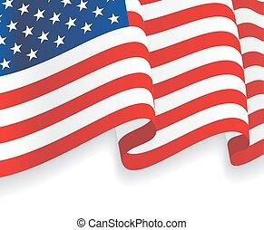 waving, flag., americano, vetorial, fundo