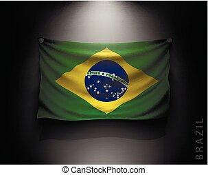 waving flag brazil on a dark wall