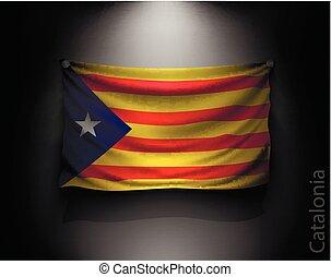 waving flag catalonia on a dark wall