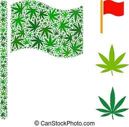 Waving Flag Collage of Marijuana