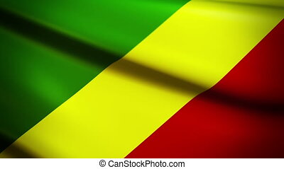 Waving Flag Congo Punchy - National flag of Congo waving in...