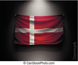 waving flag denmark  on a dark wall