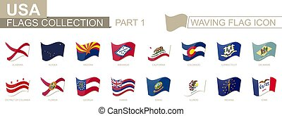 Waving flag icon, flags of the US states sorted alphabetically, from Alabama to Iowa.