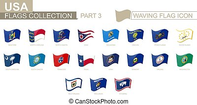 Waving flag icon, flags of the US states sorted alphabetically, from New York state to Wyoming.