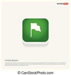 Waving flag icon Green Web Button