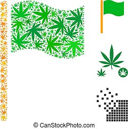 Waving Flag Mosaic of Weed Leaves