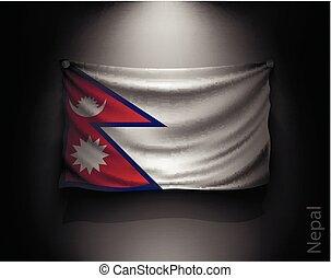 waving flag nepal on a dark wall