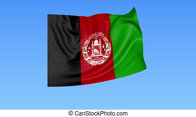 Waving flag of Afghanistan, seamless loop. Exact size, blue...