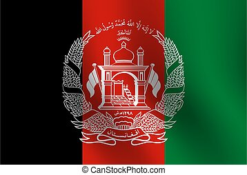 Waving flag of Afghanistan. Vector illustration