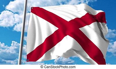 Waving flag of Alabama. 4K clip