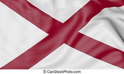 Waving flag of Alabama state. 3D rendering