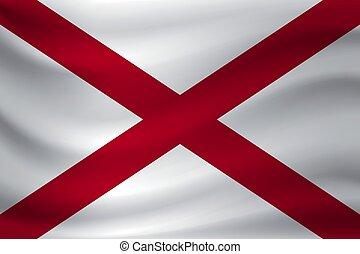 Waving flag of Alabama. Vector illustration