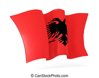 Waving flag of albania. 3D illustration