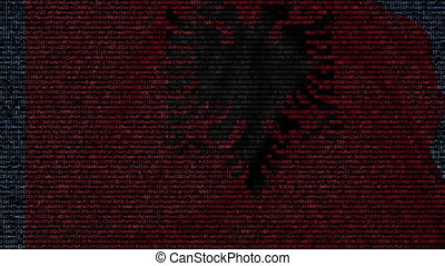 Waving flag of Albania made of text symbols on a computer...