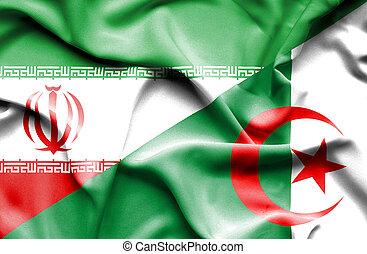 Waving flag of Algeria and Iran