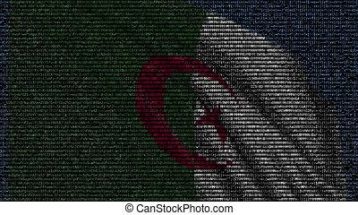 Waving flag of Algeria made of text symbols on a computer screen. Conceptual 3D rendering
