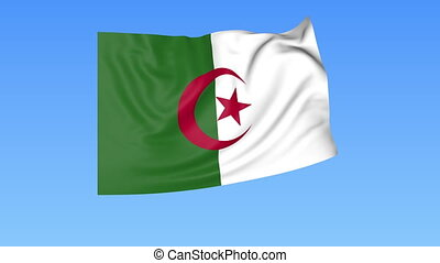 Waving flag of Algeria, seamless loop. Exact size, blue...