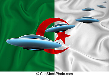 Waving flag of Algeria. UFO group on the background of the flag. UFO news concept in the country. 3D rendering