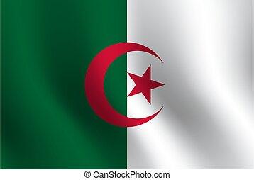 Waving flag of Algeria. Vector illustration