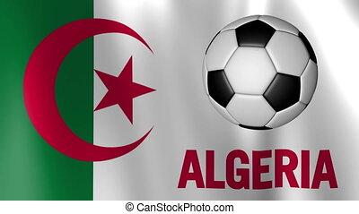 Waving Flag of Algeria with European football rotating shot...