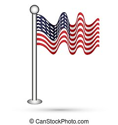Waving flag of america. Vector illustration for your design.