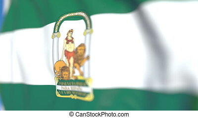 Waving flag of Andalusia, an autonomous community in Spain....