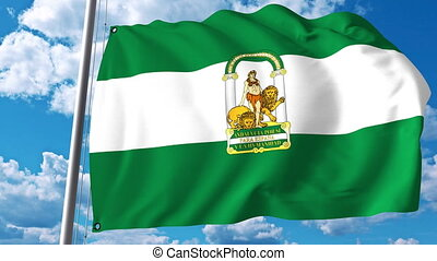 Waving flag of Andalusia an autonomous community in Spain -...