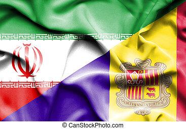 Waving flag of Andorra and Iran