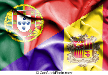 Waving flag of Andorra and Portugal
