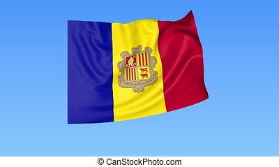 Waving flag of Andorra, seamless loop. Exact size, blue...