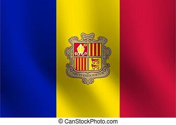 Waving flag of Andorra. Vector illustration