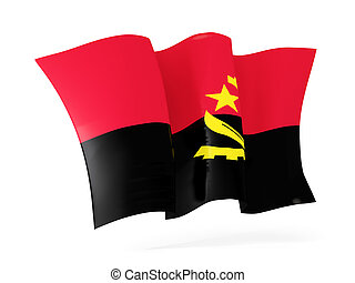 Waving flag of angola. 3D illustration
