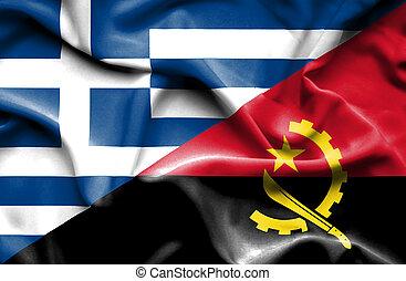Waving flag of Angola and Greece