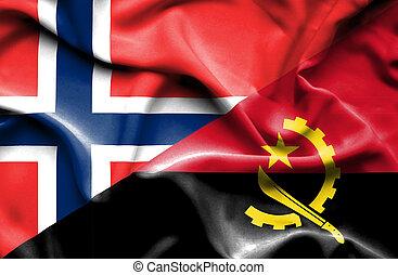 Waving flag of Angola and Norway