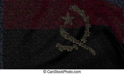 Waving flag of Angola made of text symbols on a computer...