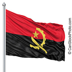 Realistic 3d flag of Angola fluttering in the wind.