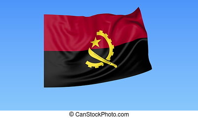 Waving flag of Angola, seamless loop. Exact size, blue background. Part of all countries set. 4K Pro Res with alpha.