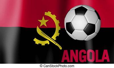 Waving Flag of Angola with football
