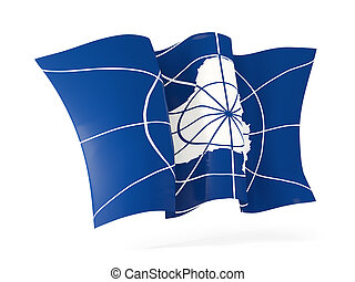Waving flag of antarctica. 3D illustration