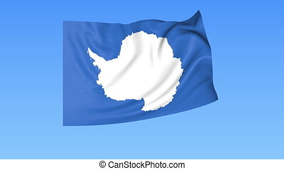 Waving flag of Antarctica, seamless loop. Exact size, blue background. Part of all countries set. 4K ProRes with alpha