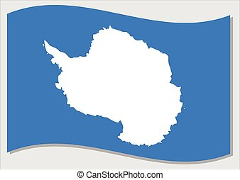 Waving flag of Antarctica vector graphic. Waving Antarctic flag illustration. Antarctica country flag wavin in the wind is a symbol of freedom and independence.