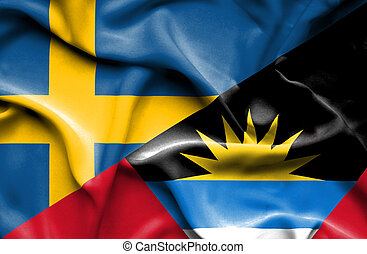 Waving flag of Antigua and Barbuda and Sweden