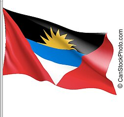Waving flag of Antigua Barbuda