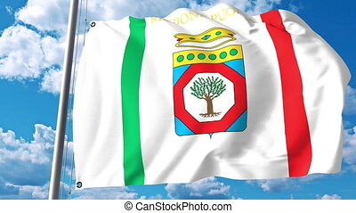 Waving flag of Apulia a region of Italy - Waving flag of...