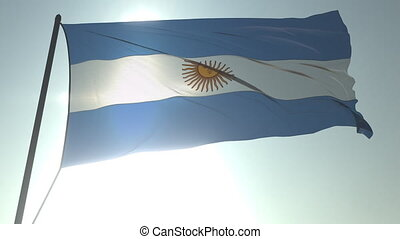 Waving flag of Argentina against shining sun and sky. Realistic loopable 3D animation