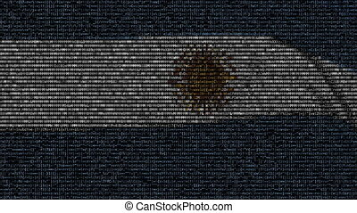 Waving flag of Argentina made of text symbols on a computer...