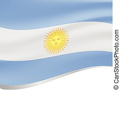Waving flag of Argentina on white background