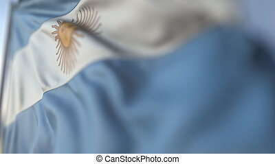 Waving flag of Argentina, shallow focus close-up. Realistic loopable 3D animation