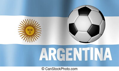 Waving Flag of Argentina with football