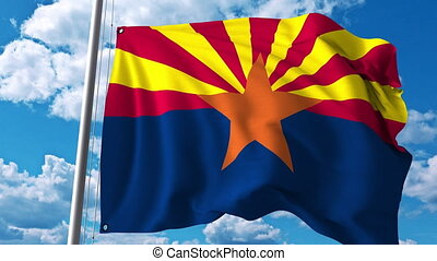Waving flag of Arizona. 4K clip